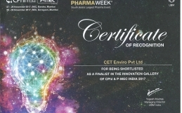 Certification of Recognition from the event CPhl & P-MEC INDIA 2017!